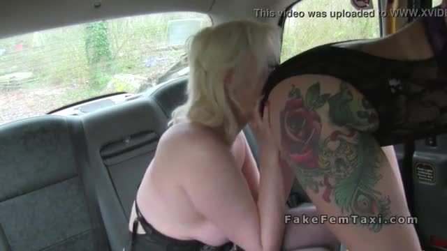 Lesbian fake taxi driver doing client