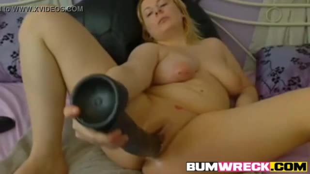 Amateur Blonde with Giant Dildo on Webcam