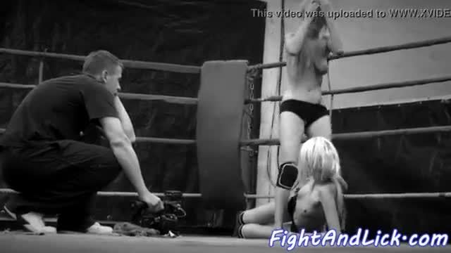 Naked lezzies wrestling in a boxing ring