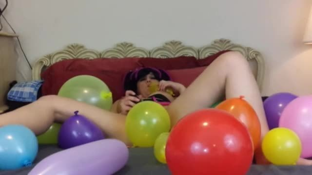 Balloon popping masturbation fetish