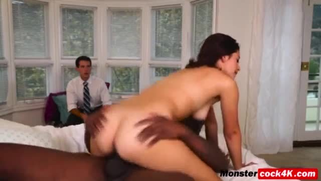 Black monster cock for Izzy Bell shaved pussy