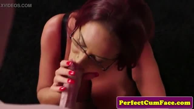 Spex redhead tittyfucks until facial finish