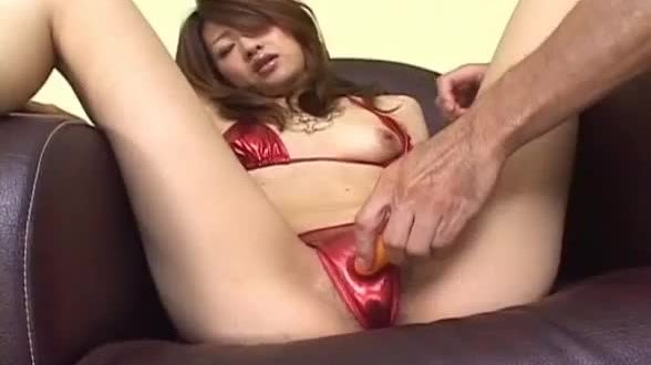 Lusty Asian milf Nagisa Sasaki gets hairy pussy masturbated with sex toy